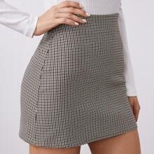 Houndstooth Plaid Zipper Straight Skirt