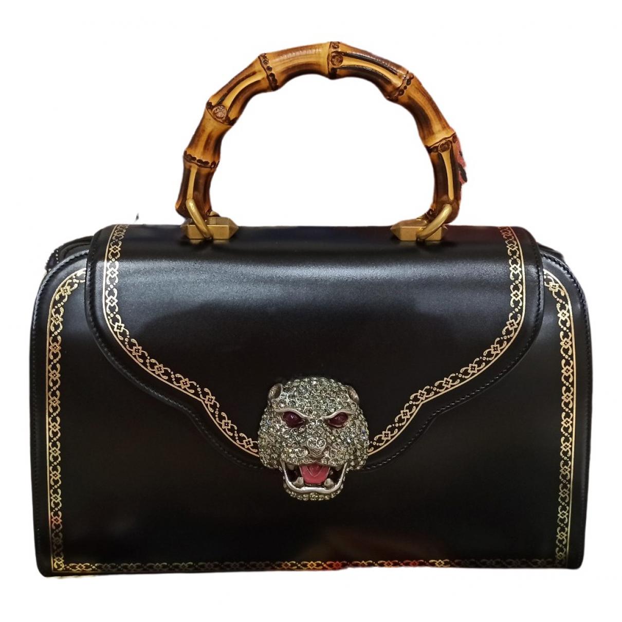 Gucci Animalier Handtasche in  Schwarz Leder