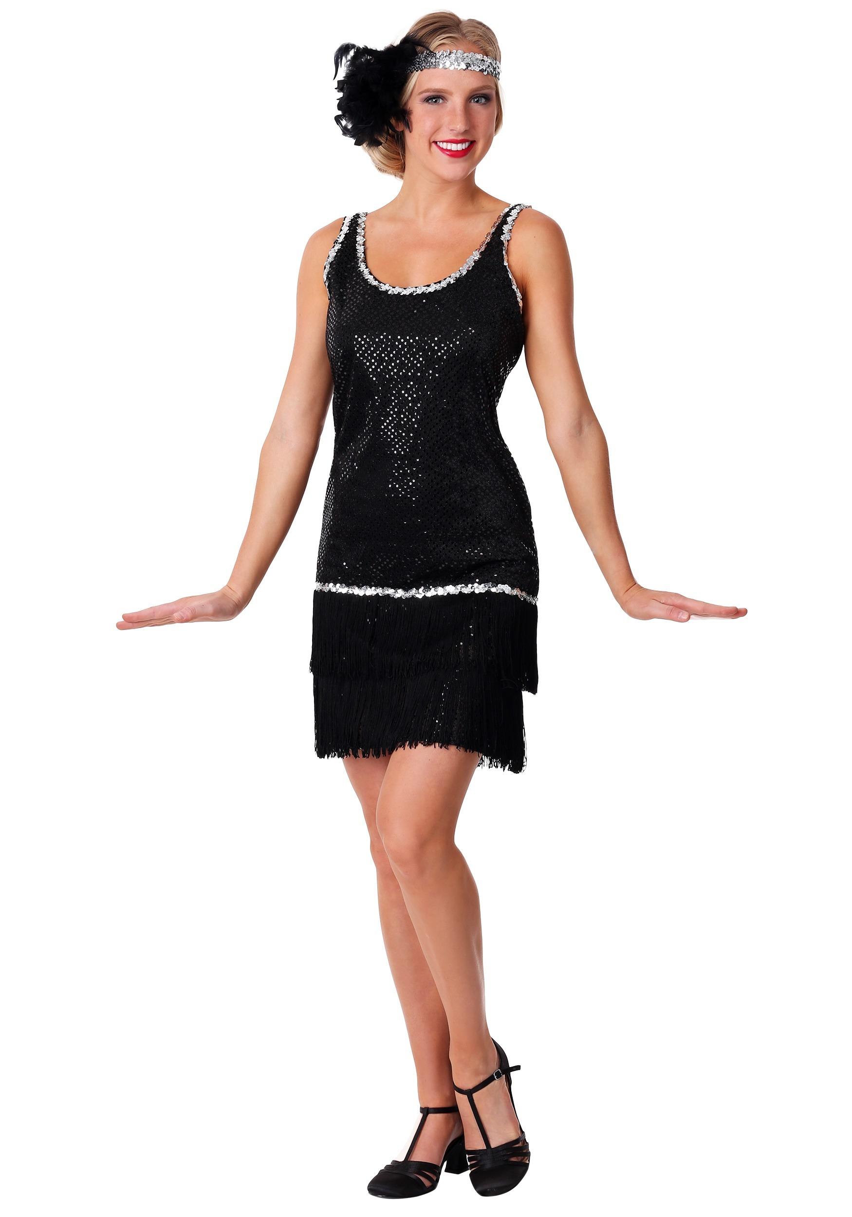 Women's Black Sequin & Fringe Plus Size Flapper Costume