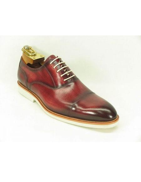 Men's Burgundy Carrucci Leather Oxford Shoes White Sole