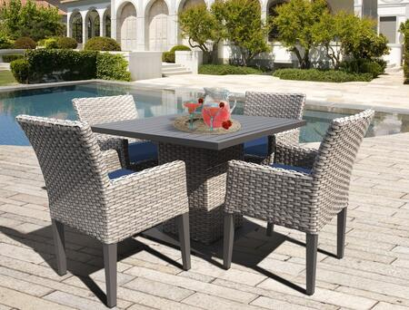 Oasis Square Dining Table with 4 Chairs with 2 Covers: Gray and Navy