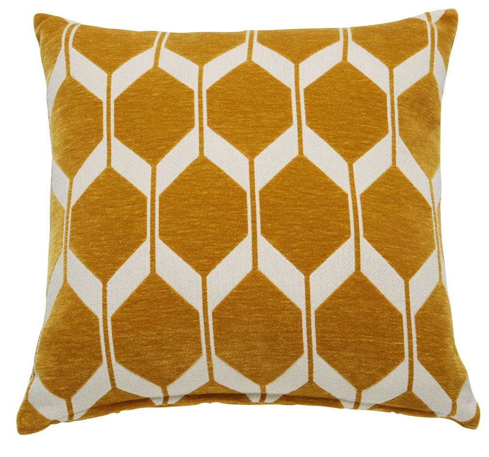 Kissen aus senfgelbem Samt mit Jacquard-Motiven 60x60