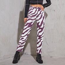 Zebra Striped Straight Leg Jeans Without Belt
