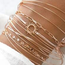 16pcs Round Decor Bracelet Set