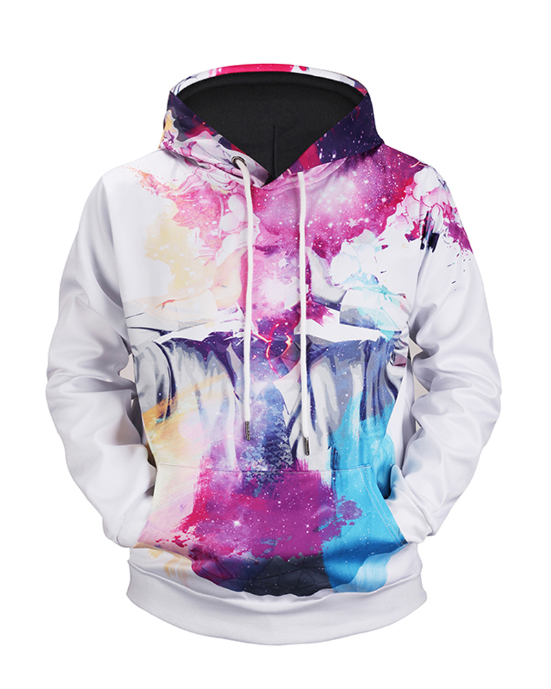 Pullover Casual Style Kangaroo Pocket Fastness 3D Painted Hoodie