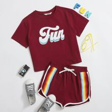 Girls Letter Graphic Tee & Rainbow Striped Tape Dolphin Shorts Set