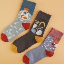 3 pares calcetines de hombres con estampado de dibujos animados
