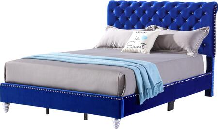 Maxx Collection G1943-QB-UP Queen Size Bed with Deep Tufted with Velvet Like Micro  Jewel Like Buttons and Wood Feet in Cobal