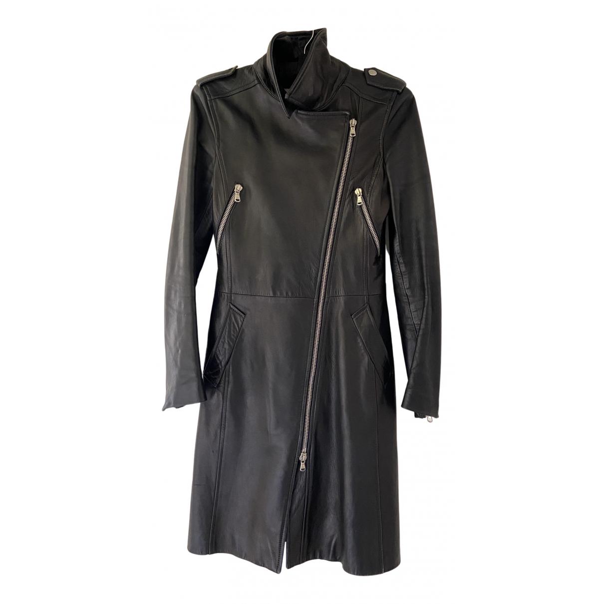 Dolce & Gabbana - Manteau   pour femme en cuir - noir