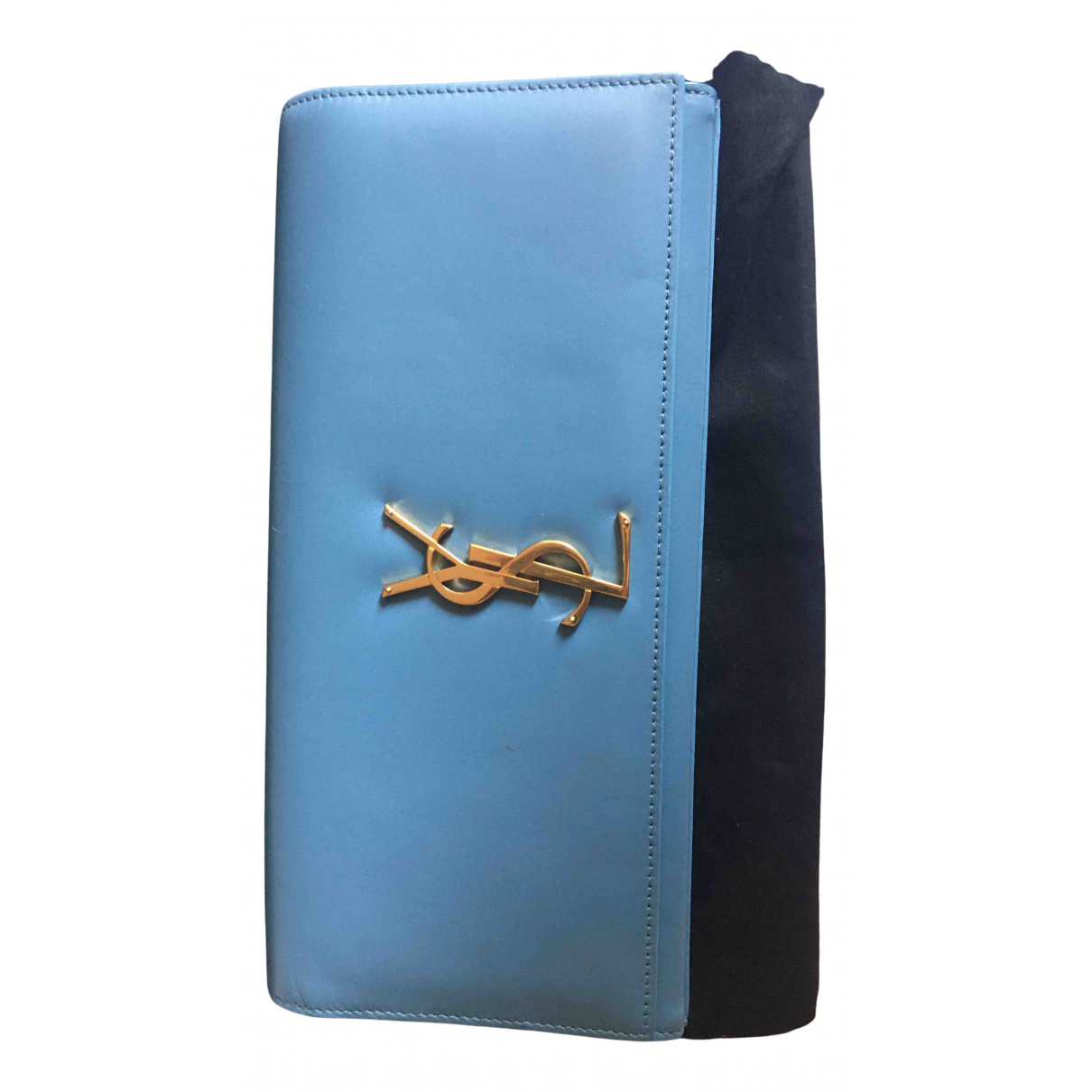 Saint Laurent Kate monogramme Turquoise Leather Clutch bag for Women N
