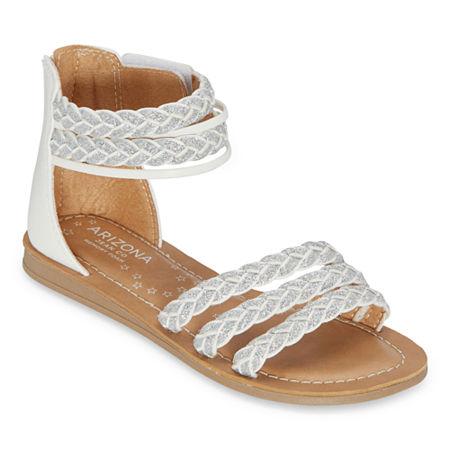 Arizona Little Kid/Big Kid Girls Gemma Ankle Strap Gladiator Sandals, 13 Medium, White