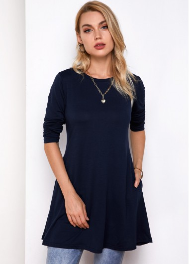 Pocket Round Neck Long Sleeve T Shirt - S