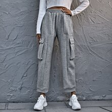 Flap Pocket High Waist Solid Sweatpants