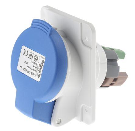 Merlin Gerin , PratiKa IP44 Blue Panel Mount 2P+E Angled Industrial Power Socket, Rated At 16.0A, 230.0 V