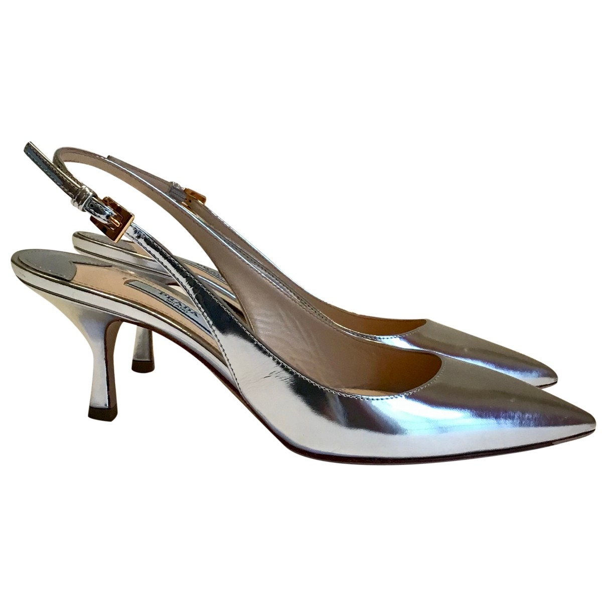 Prada N Silver Patent leather Heels for Women 36 EU