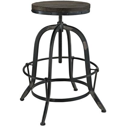 Collect Collection EEI-1208-BLK Bar Stool with Round Shaped Seat  Indutrial Modern Style  Iron Footrest Ring  Cast Iron Base and Solid Pine Wood Top
