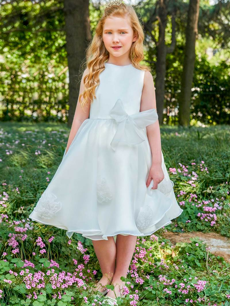 Ericdress Scoop Neck Bowknot Knee Length Flower Girl Dress