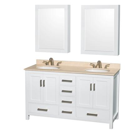 WCS141460DWHIVUNOMED 60 in. Double Bathroom Vanity in White  Ivory Marble Countertop  Undermount Oval Sinks  and Medicine