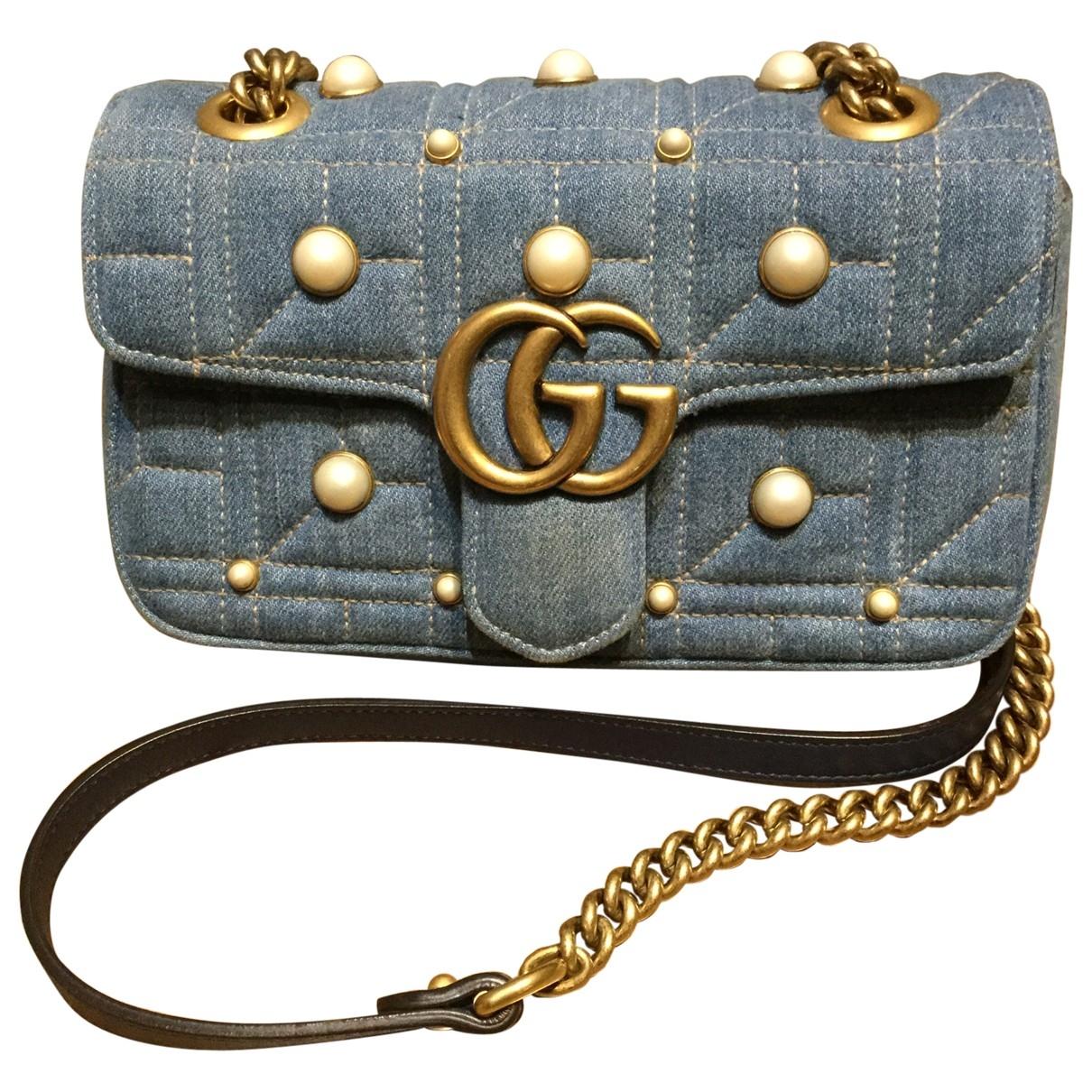Gucci Marmont Handtasche in  Blau Denim - Jeans
