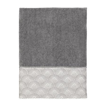 Avanti Deco Shell Nickel Embellished Bordered Bath Towel, One Size , Gray