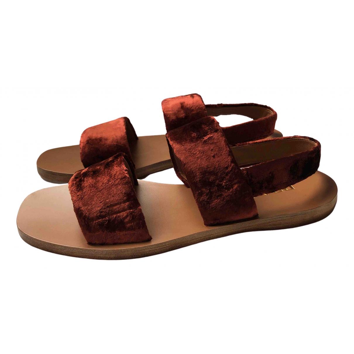 Prada - Sandales   pour femme en velours - marron