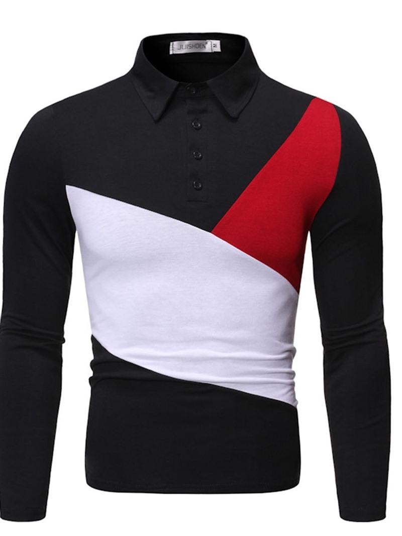 Ericdress Color Block Casual Polo Neck Men's Polo Shirt