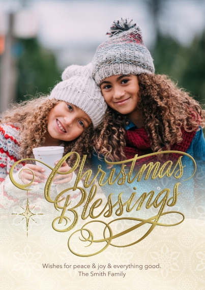 Christmas Photo Cards Flat Glossy Photo Paper Cards with Envelopes, 5x7, Card & Stationery -Golden Christmas Blessings