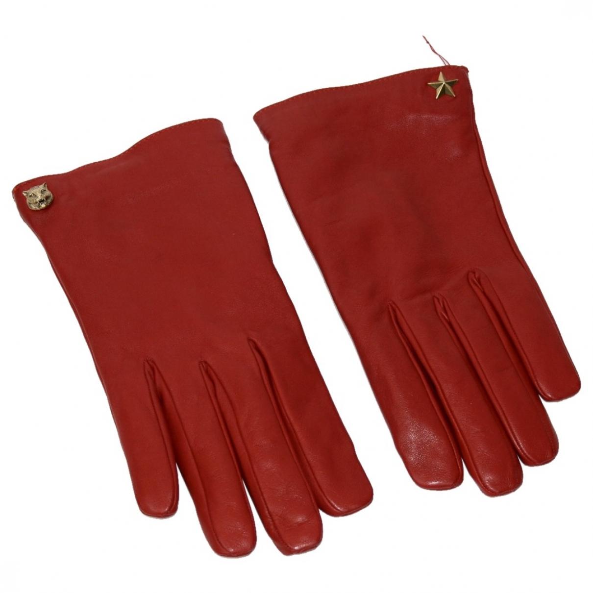 Gucci - Gants   pour femme en cuir - rouge