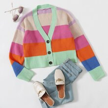 Colorblock Button Front Cardigan