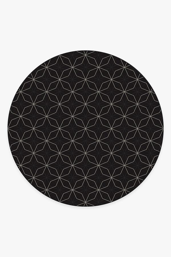 Washable Rug Cover   Geometrix Black Rug   Stain-Resistant   Ruggable   8' Round