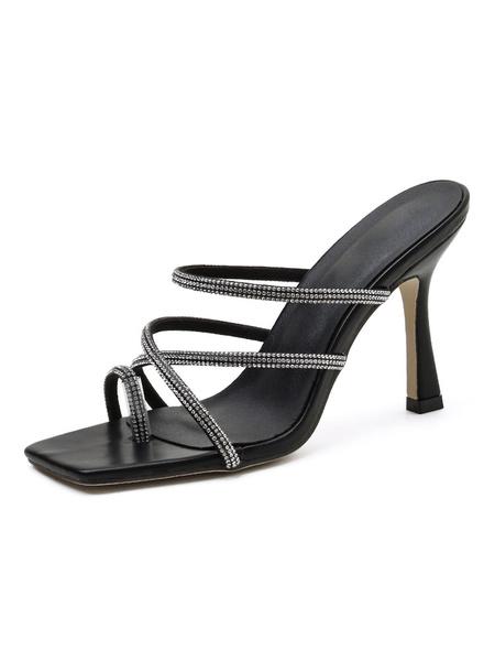 Milanoo Women Sandals Stiletto Heel Sandals Rhinestones Chic Sling-backs Slippers