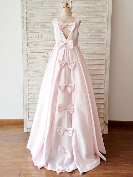 Milanoo Vestido rosado del saten V Volver boda del florista Con Lazos