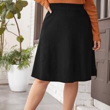 Plus Solid Elastic Waist Sweater Skirt