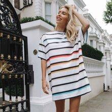 Drop Shoulder Striped Tee Dress