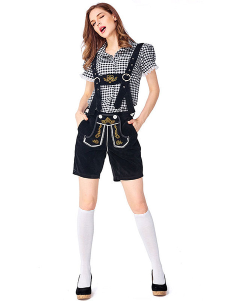 Milanoo Halloween Costumes Beer Girl Costume Peach Lace Embroidered Jumpsuit Corduroy Beer Girl Holidays Costumes Oktoberfest Costumes