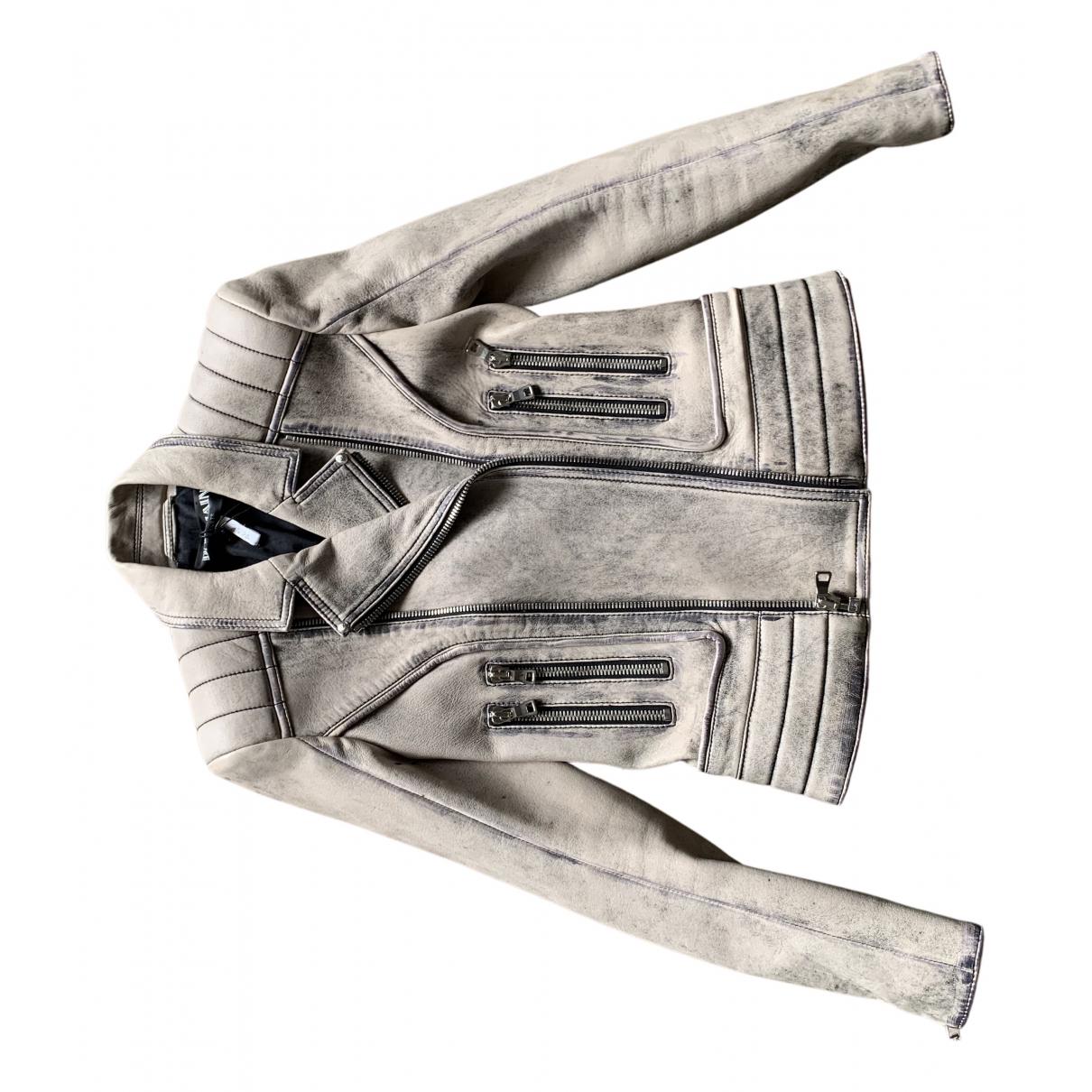 Balmain - Veste   pour femme en cuir - beige