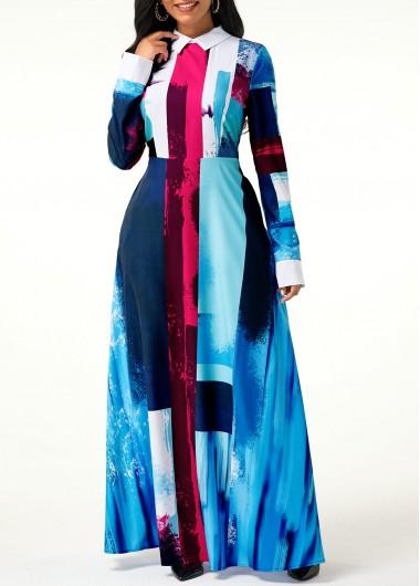 Women'S Blue Long Sleeve Geometric Print Shirt Casual Dress Muslim High Waisted Maxi Holiday Dress By Rosewe - XL