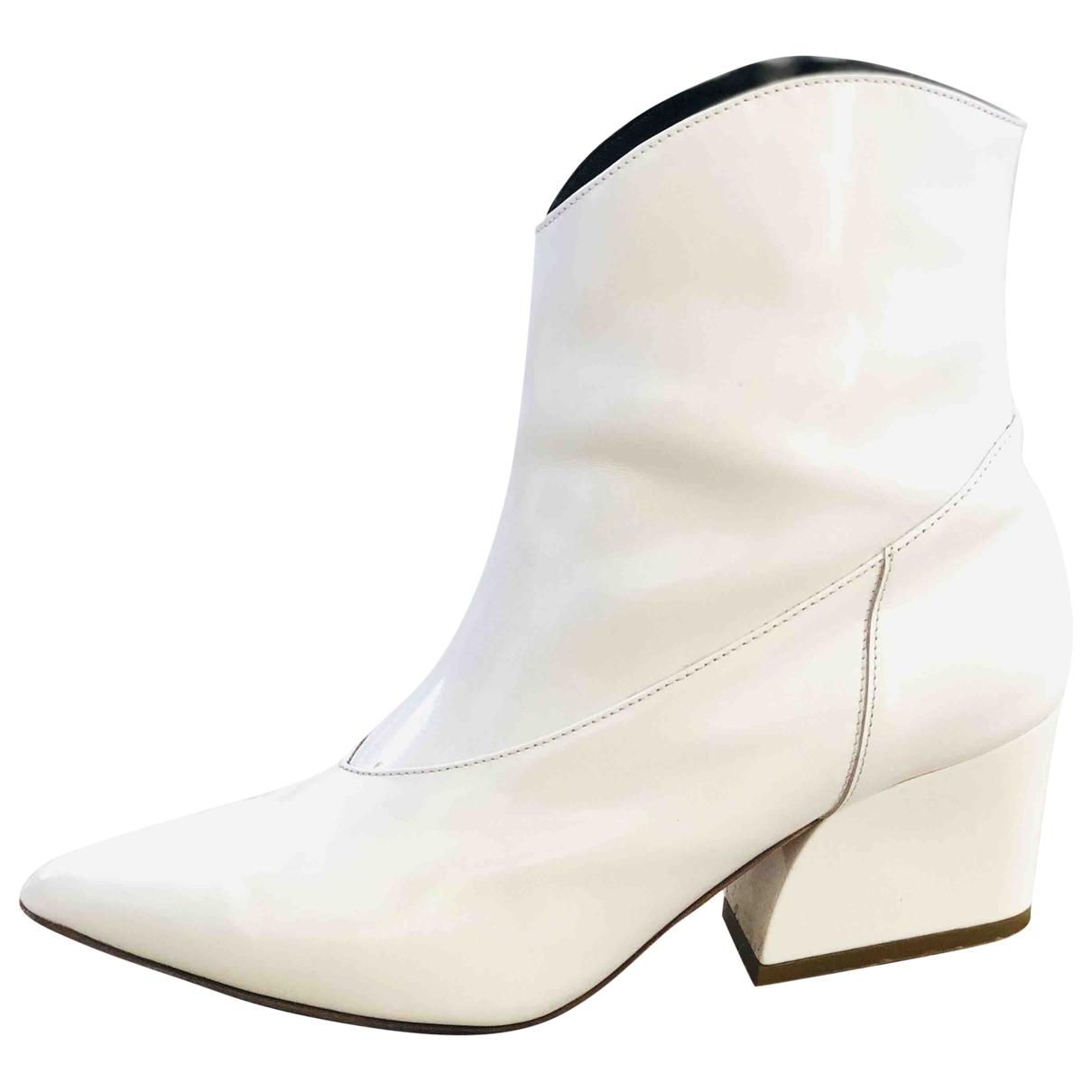 Tibi - Boots   pour femme en cuir verni - blanc