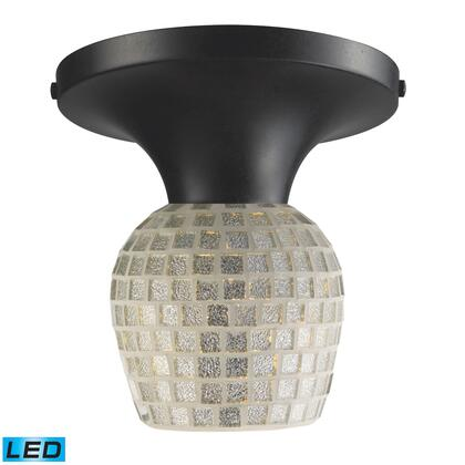 10152/1DR-SLV-LED Celina 1-Light Semi-Flush in Dark Rust and Silver Glass -