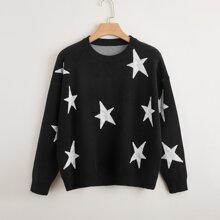 Plus Star Pattern Drop Shoulder Sweater