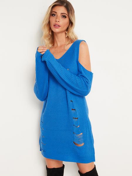 Yoins Blue Random Ripped Details V-neck Cold Shoulder Long Sleeves Sweater Dress