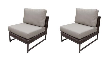 TKC049b-AS-DB-BRN-BEIGE Barcelona Armless Chair 2 Per Box - 2 Sets of Beige