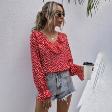 Ditsy Floral Ruffle Trim Blouse