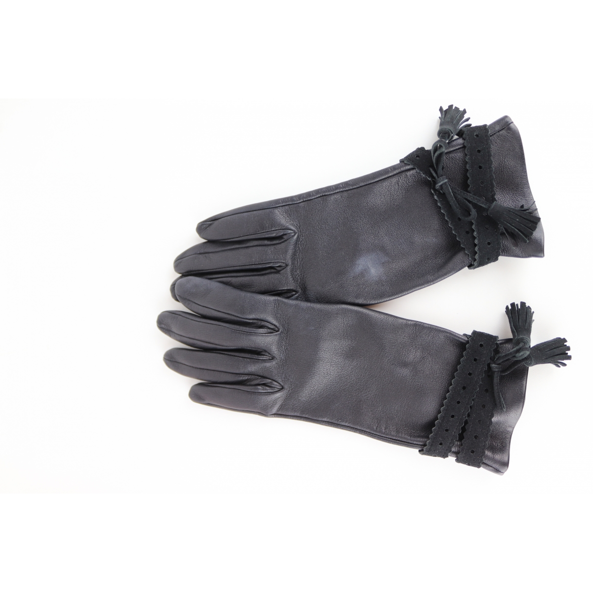 Hermès \N Black Leather Gloves for Women 6.5 Inches