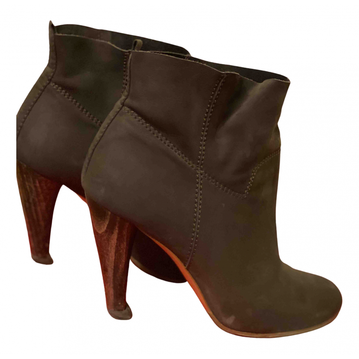 Michel Vivien - Boots   pour femme en suede - kaki