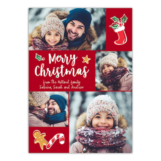 20 Pack of Gartner Studios® Personalized Hand Drawn Christmas Flat Photo Card in Red | 5