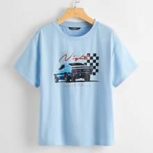 T-Shirt mit sehr tief angesetzter Schulterpartie und Buchstaben Grafik