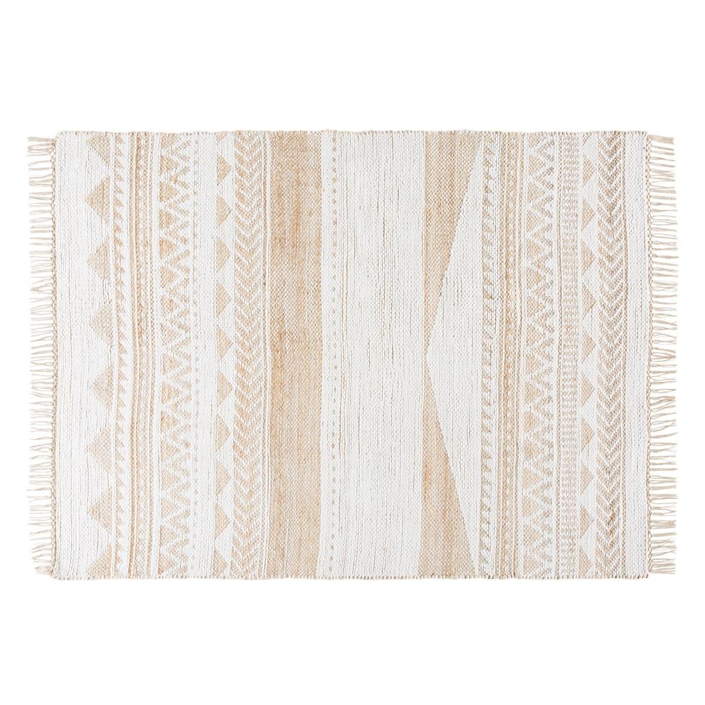 Teppich aus Jute und Baumwolle mit grafischen Motiven 160x230