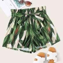 Shorts mit Papiertasche Taille und tropischem Muster