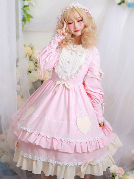 Milanoo Sweet Lolita OP Dress Neverland Heart Patch Arcos Volantes Lolita Vestidos de una pieza